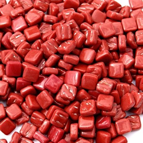 8mm Square Tiles - Chilli Red Gloss - 50g
